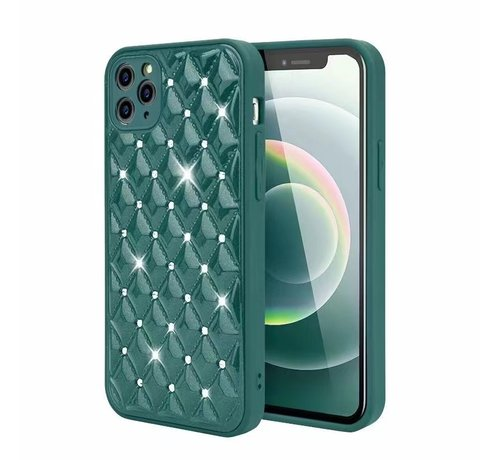 JVS Products iPhone 12 Pro Max Luxe Diamanten Back Cover Hoesje - Siliconen - Diamantpatroon - Back Cover - Apple iPhone 12 Pro Max - Donkergroen