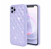 JVS Products iPhone 12 Pro Max Luxe Diamanten Back Cover Hoesje - Siliconen - Diamantpatroon - Back Cover - Apple iPhone 12 Pro Max - Paars
