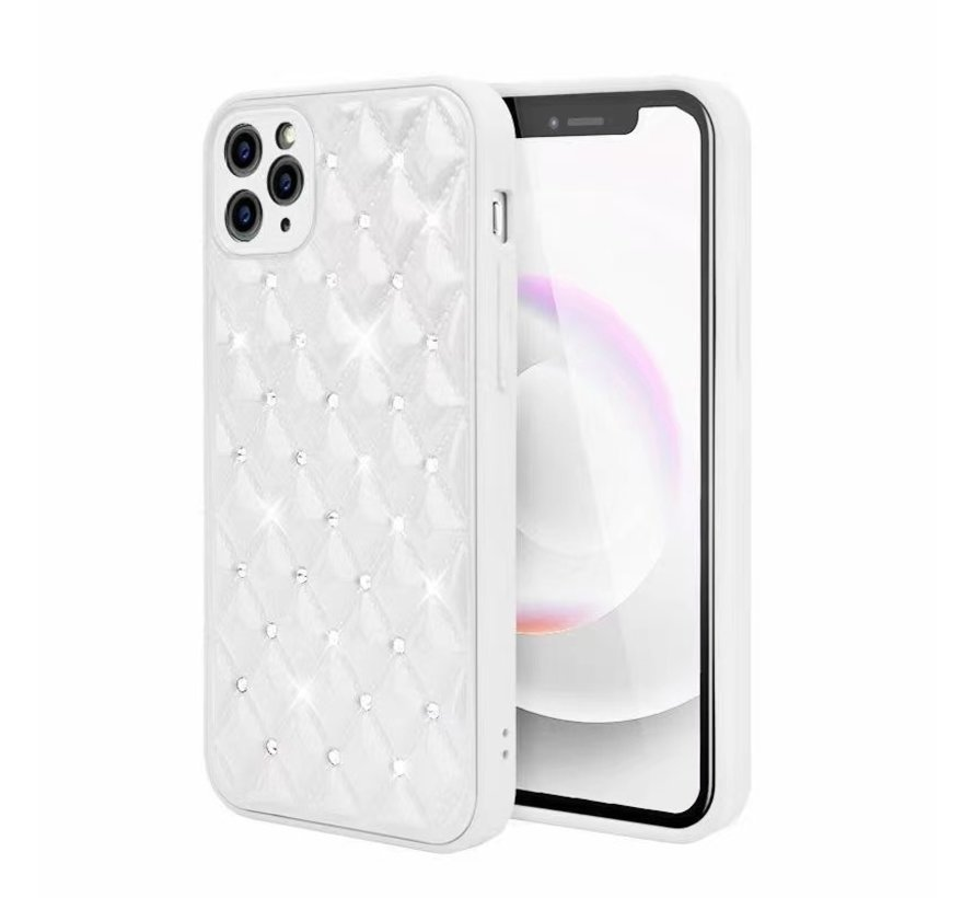 iPhone 12 Pro Max Luxe Diamanten Back Cover Hoesje - Siliconen - Diamantpatroon - Back Cover - Apple iPhone 12 Pro Max - Wit