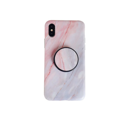 JVS Products iPhone XS Max Back Cover Hoesje Marmer - Marmerprint - TPU - Ring Houder - Apple iPhone XS Max - Roze