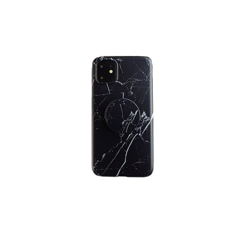 JVS Products iPhone 11 Pro Max Back Cover Hoesje Marmer - Marmerprint - TPU - Ring Houder - Apple iPhone 11 Pro Max - Zwart