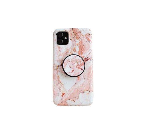 JVS Products iPhone 11 Pro Max Back Cover Hoesje Marmer - Marmerprint - TPU - Ring Houder - Apple iPhone 11 Pro Max - Oranje