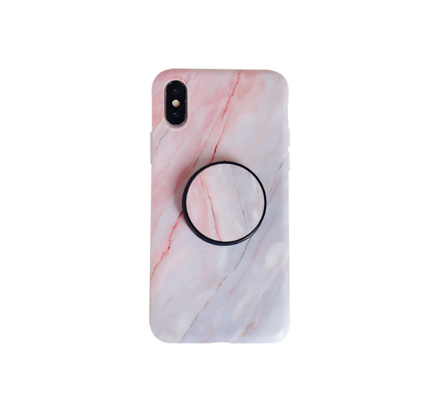 iPhone 11 Pro Max Back Cover Hoesje Marmer - Marmerprint - TPU - Ring Houder - Apple iPhone 11 Pro Max - Roze