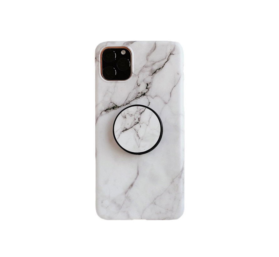 iPhone 12 Pro Max Back Cover Hoesje Marmer - Marmerprint - TPU - Ring Houder - Apple iPhone 12 Pro Max - Wit