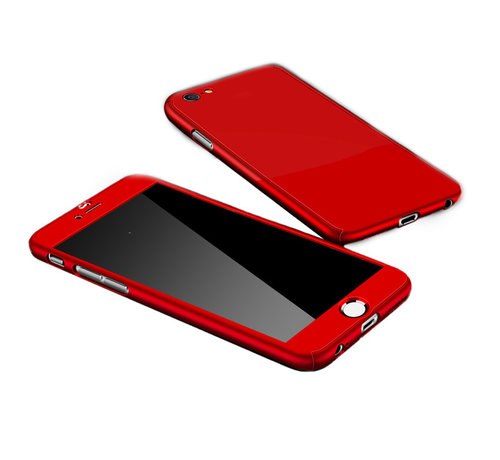 JVS Products iPhone 12 Pro Max Full Body Hoesje - 2-delig Hoesje - Hard Kunststof - Back Cover - Apple iPhone 12 Pro Max - Rood