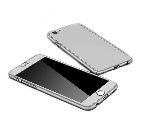 JVS Products iPhone 12 Pro Max Full Body Hoesje - 2-delig Hoesje - Hard Kunststof - Back Cover - Apple iPhone 12 Pro Max - Zilver