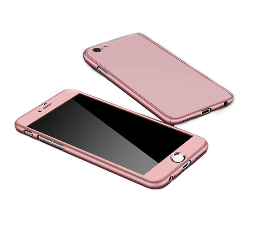 JVS Products Samsung Galaxy A12 Full Body Hoesje - 2-delig Hoesje - Hard Kunststof - Back Cover - Samsung Galaxy A12 - Rose Goud