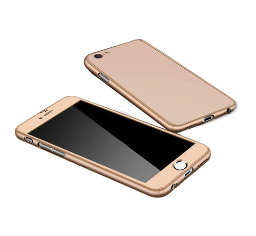 JVS Products Samsung Galaxy A12 Full Body Hoesje - 2-delig Hoesje - Hard Kunststof - Back Cover - Samsung Galaxy A12 - Goud