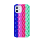JVS Products iPhone XS Max Back Cover Pop It Hoesje - Soft Case - Regenboog - Fidget - Apple iPhone XS Max - Donkerblauw / Paars