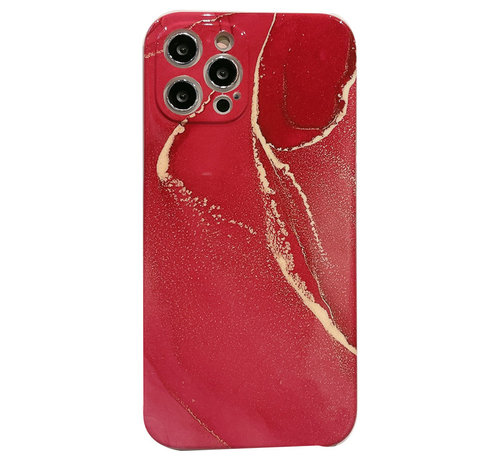 JVS Products iPhone XS Max Back Cover Hoesje Marmer - Marmerprint - TPU - Marble Design - Apple iPhone XS Max - Rood/Goud