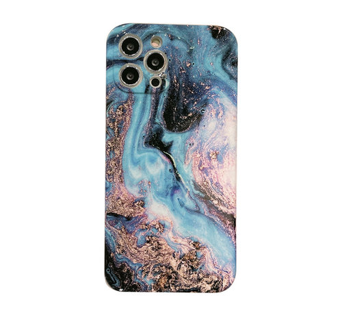 JVS Products iPhone 12 Pro Back Cover Hoesje Marmer - Marmerprint - TPU - Marble Design - Apple iPhone 12 Pro - Donkerblauw/Lichtblauw