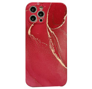 JVS Products iPhone 12 Pro Max Back Cover Hoesje Marmer - Marmerprint - TPU - Marble Design - Apple iPhone 12 Pro Max - Rood/Goud
