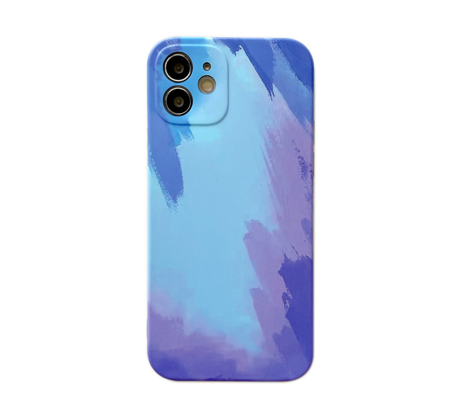 iPhone 7 Back Cover Hoesje met Patroon - TPU - Siliconen - Backcover - Apple iPhone 7 - Blauw / Lichtblauw