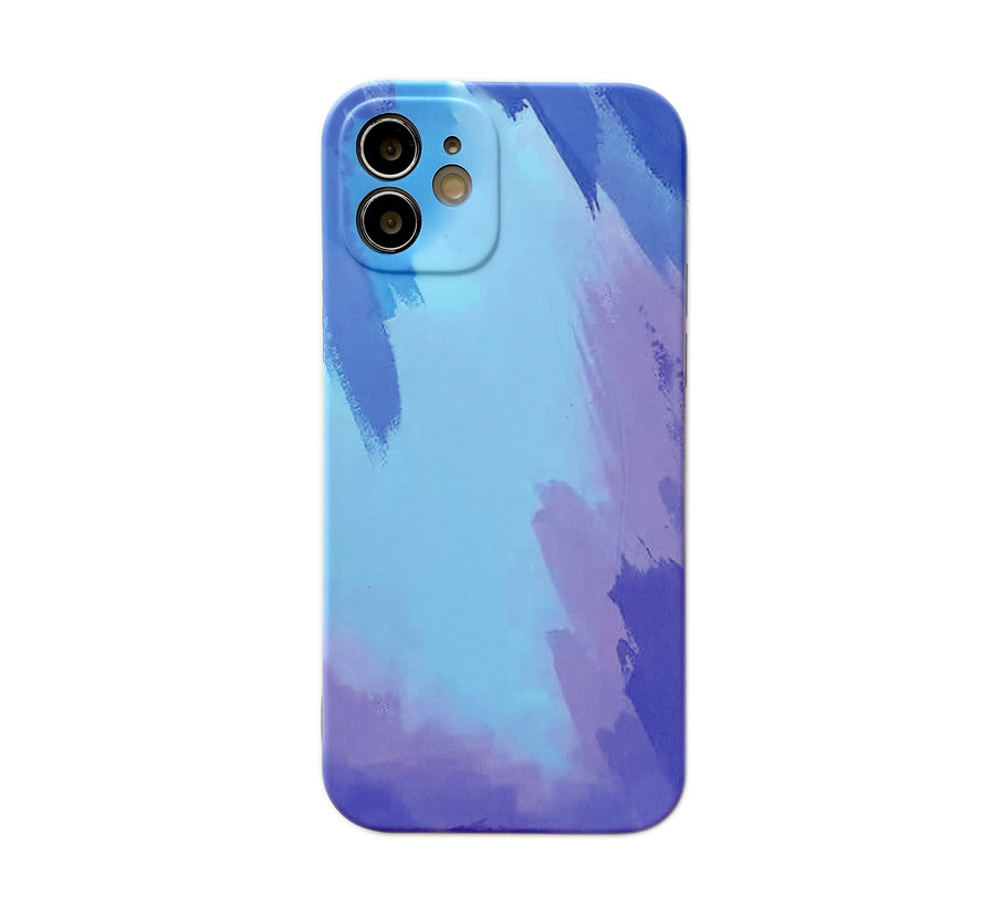 iPhone 12 Back Cover Hoesje met Patroon - TPU - Siliconen - Backcover - Apple iPhone 12 - Blauw / Lichtblauw