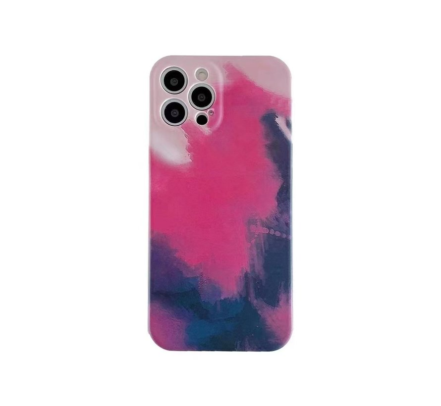 iPhone 12 Back Cover Hoesje met Patroon - TPU - Siliconen - Backcover - Apple iPhone 12 - Lichtroze / Donkerroze