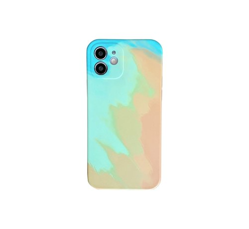 JVS Products iPhone 12 Back Cover Hoesje met Patroon - TPU - Siliconen - Backcover - Apple iPhone 12 - Geel / Groen