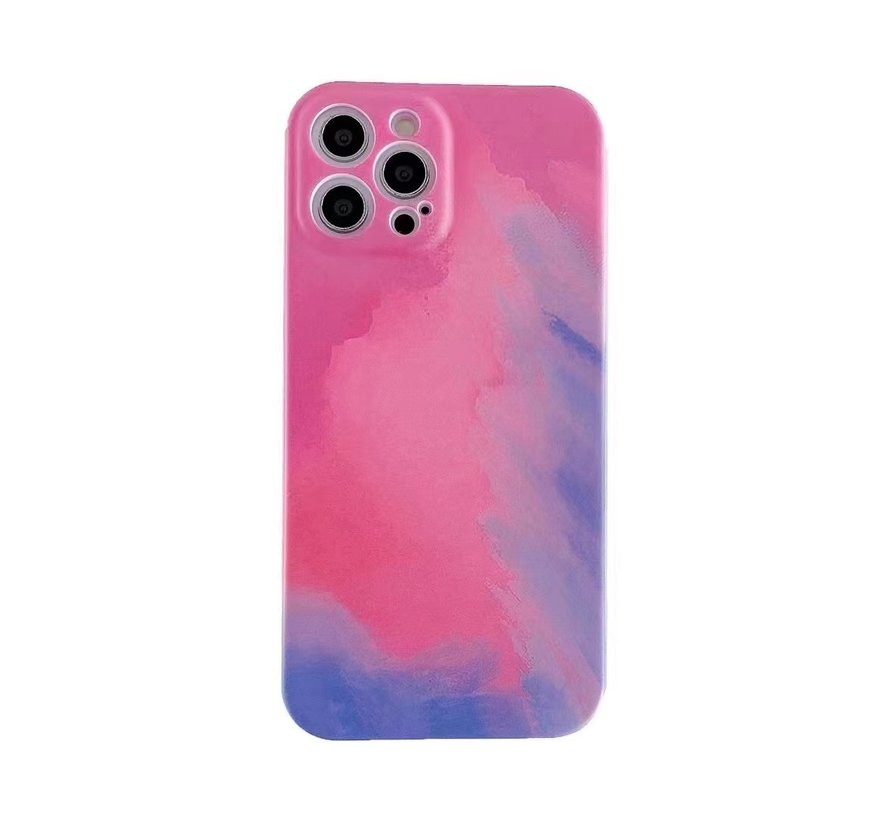iPhone 12 Back Cover Hoesje met Patroon - TPU - Siliconen - Backcover - Apple iPhone 12 - Roze / Paars