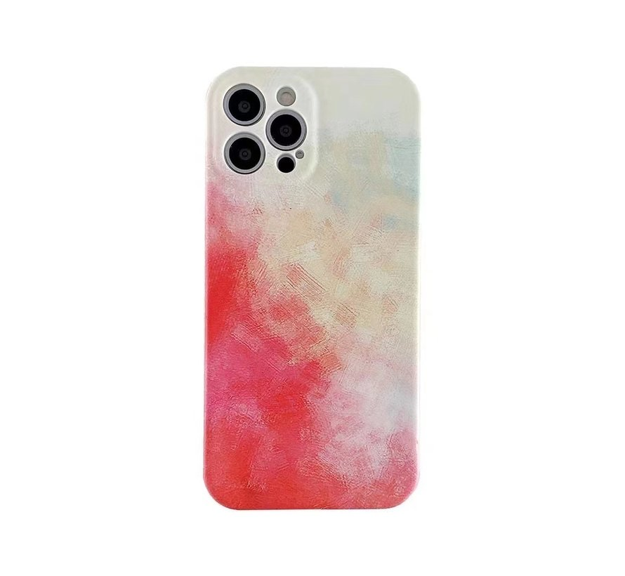 iPhone 12 Back Cover Hoesje met Patroon - TPU - Siliconen - Backcover - Apple iPhone 12 - Geel / Rood