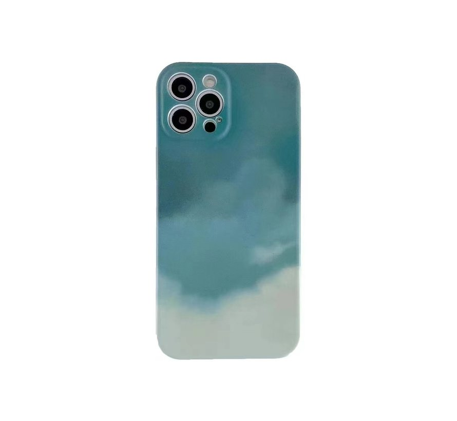 iPhone 12 Pro Max Back Cover Hoesje met Patroon - TPU - Siliconen - Backcover - Apple iPhone 12 Pro Max - Lichtgroen / Groen
