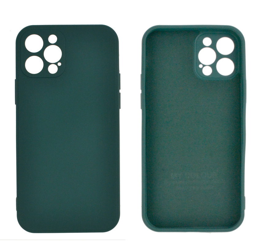 iPhone 12 Back Cover Hoesje - TPU - Backcover - Apple iPhone 12 - Donkergroen