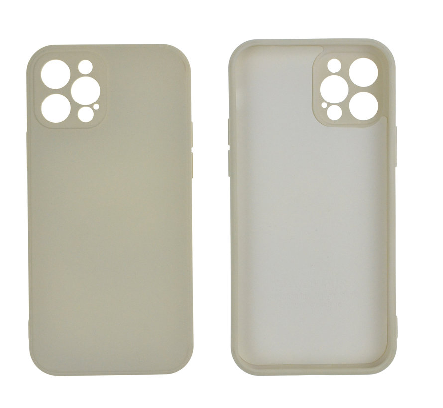 iPhone 12 Pro Max Back Cover Hoesje - TPU - Backcover - Apple iPhone 12 Pro Max - Gebroken Wit