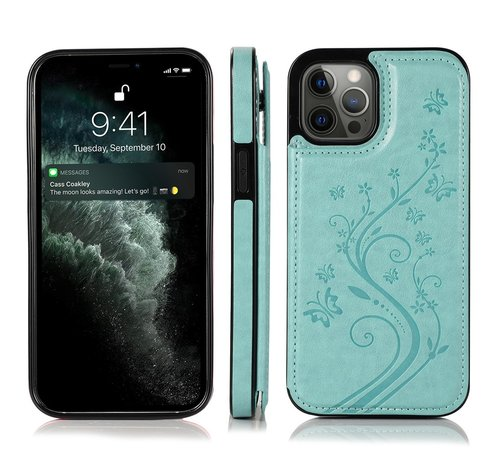 JVS Products iPhone 13 Pro Max Back Cover Hoesje met print - Pasjeshouder Leer Portemonnee Magneetsluiting Flipcover - Apple iPhone 13 Pro Max - Turquoise