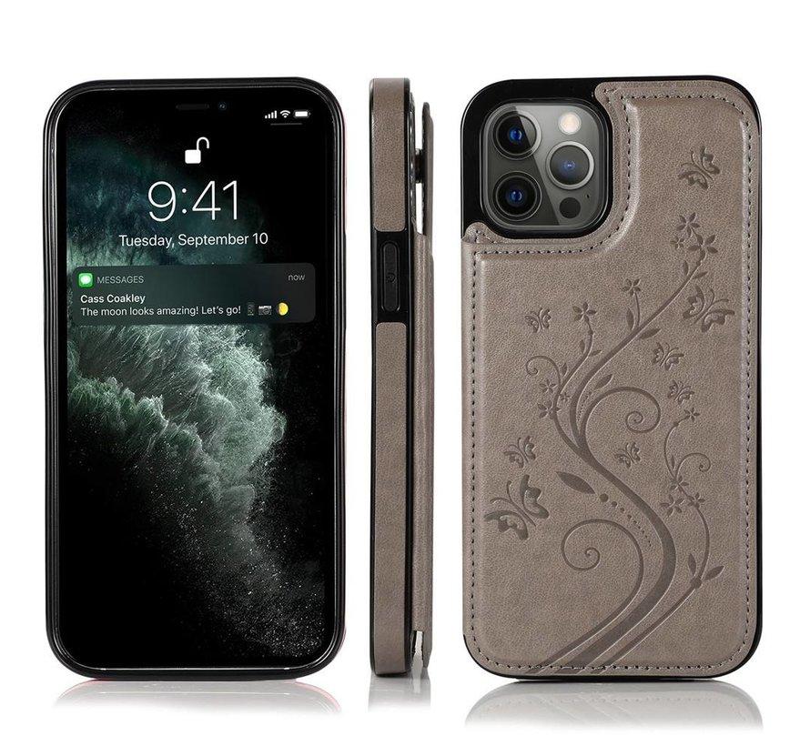 iPhone 13 Pro Back Cover Hoesje met print - Pasjeshouder Leer Portemonnee Magneetsluiting Flipcover - Apple iPhone 13 Pro - Grijs