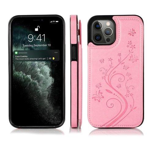JVS Products iPhone 13 Pro Back Cover Hoesje met print - Pasjeshouder Leer Portemonnee Magneetsluiting Flipcover - Apple iPhone 13 Pro - Roze