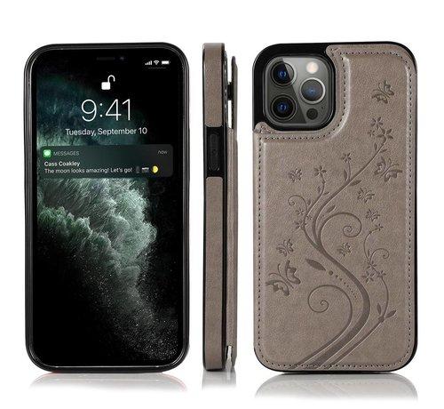 JVS Products iPhone 13 Back Cover Hoesje met print - Pasjeshouder Leer Portemonnee Magneetsluiting Flipcover - Apple iPhone 13 - Grijs