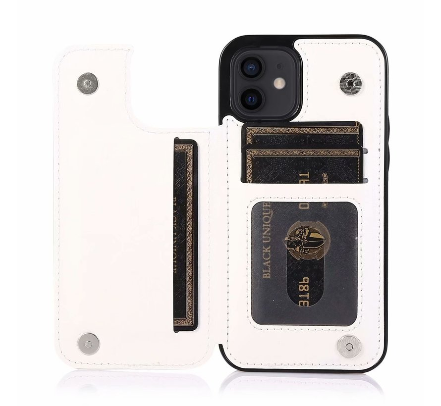 Apple iPhone 12 Mini Back Cover Hoesje - Pasjeshouder - Leer - Portemonnee - Magneetsluiting - Flipcover - Apple iPhone 12 Mini - Wit
