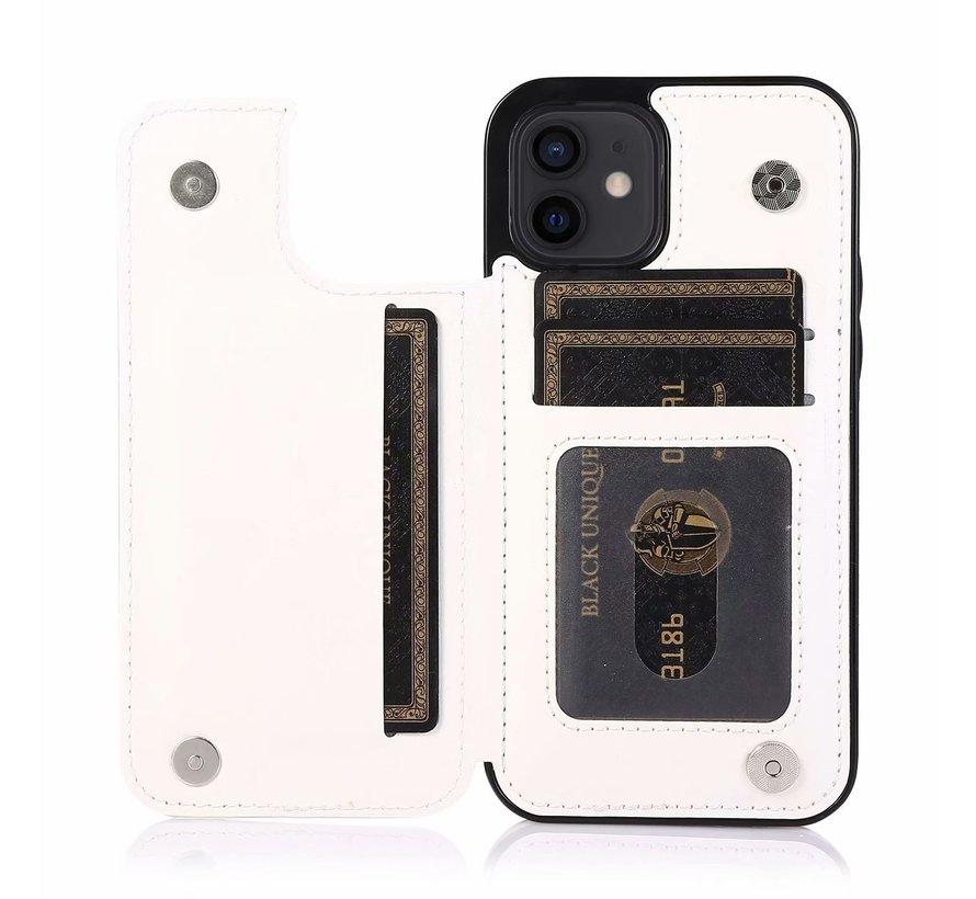 Apple iPhone 11 Back Cover Hoesje - Pasjeshouder - Leer - Portemonnee - Magneetsluiting - Flipcover - Apple iPhone 11 - Wit