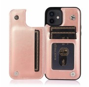 JVS Products Apple iPhone XR Back Cover Hoesje - Pasjeshouder - Leer - Portemonnee - Magneetsluiting - Flipcover - Apple iPhone XR - Rose Goud