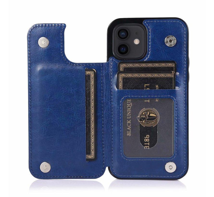 Apple iPhone 7 Back Cover Hoesje - Pasjeshouder - Leer - Portemonnee - Magneetsluiting - Flipcover - Apple iPhone 7 - Blauw