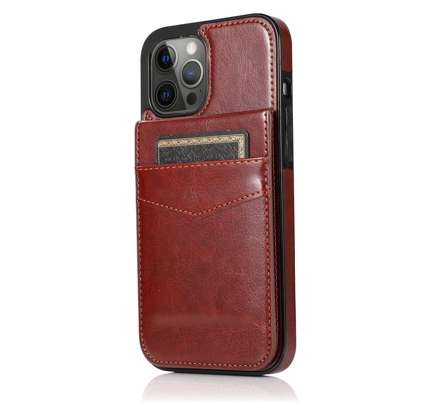 Apple iPhone 12 Mini Back Cover Hoesje - Pasjeshouder - Leer - Portemonnee - Flipcover - Apple iPhone 12 Mini - Bruin