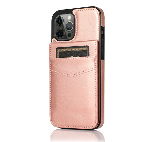 JVS Products Apple iPhone 12 Back Cover Hoesje - Pasjeshouder - Leer - Portemonnee - Flipcover - Apple iPhone 12 - Rose Gold