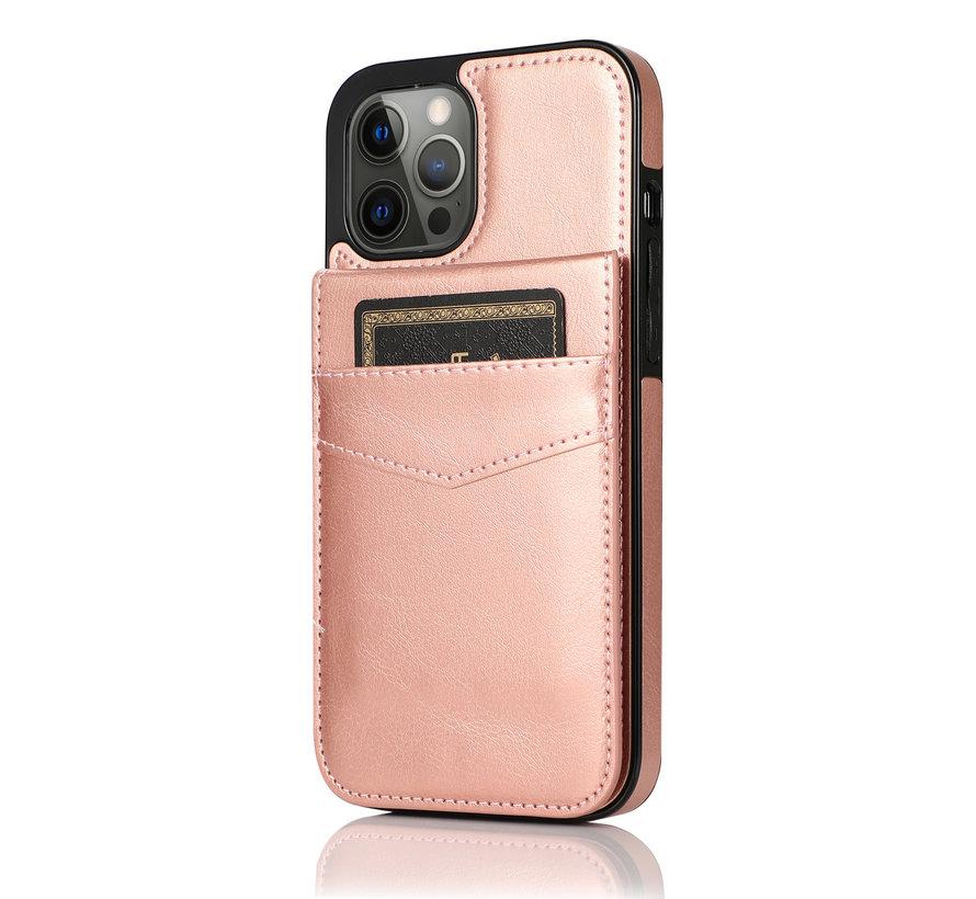 Apple iPhone 12 Back Cover Hoesje - Pasjeshouder - Leer - Portemonnee - Flipcover - Apple iPhone 12 - Rose Gold