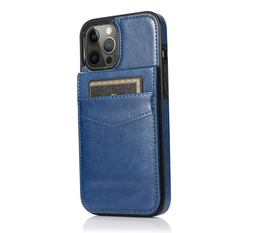 JVS Products Apple iPhone XS Max Back Cover Hoesje - Pasjeshouder - Leer - Portemonnee - Flipcover - Apple iPhone XS Max - Donkerblauw