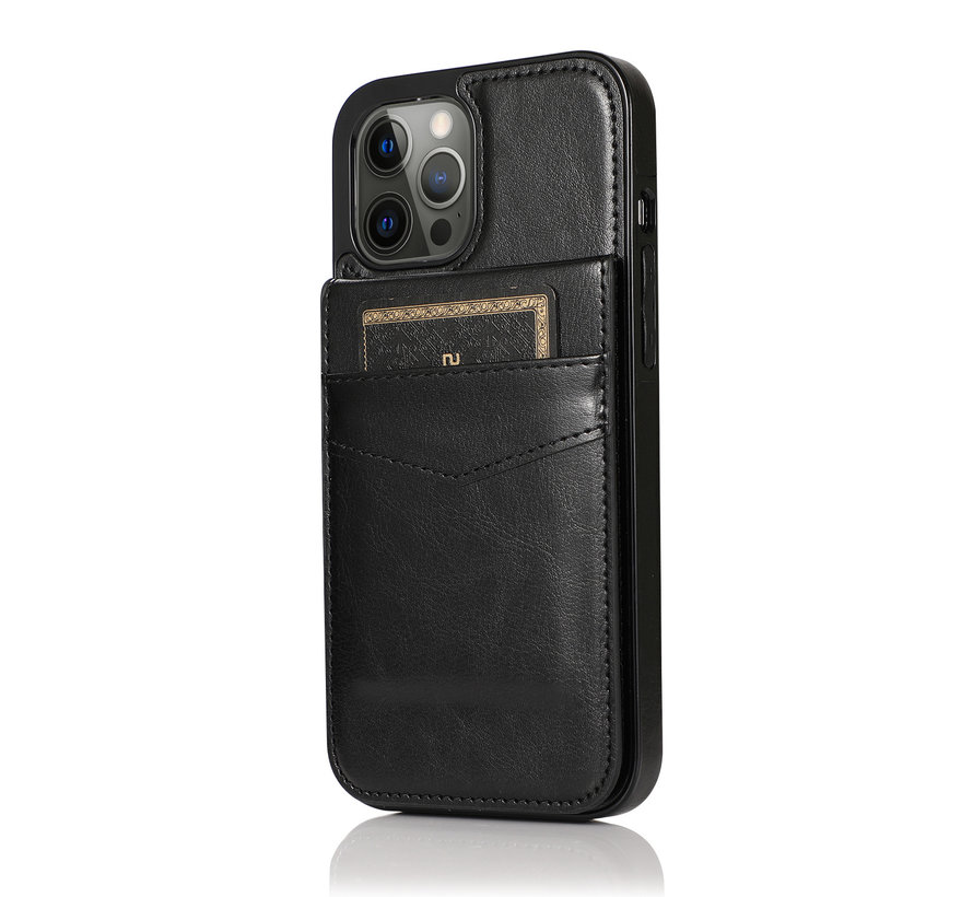 Apple iPhone X/10 Back Cover Hoesje - Pasjeshouder - Leer - Portemonnee - Flipcover - Apple iPhone X/10 - Zwart