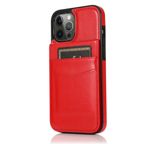 JVS Products Apple iPhone 8 Back Cover Hoesje - Pasjeshouder - Leer - Portemonnee - Flipcover - Apple iPhone 8 - Rood