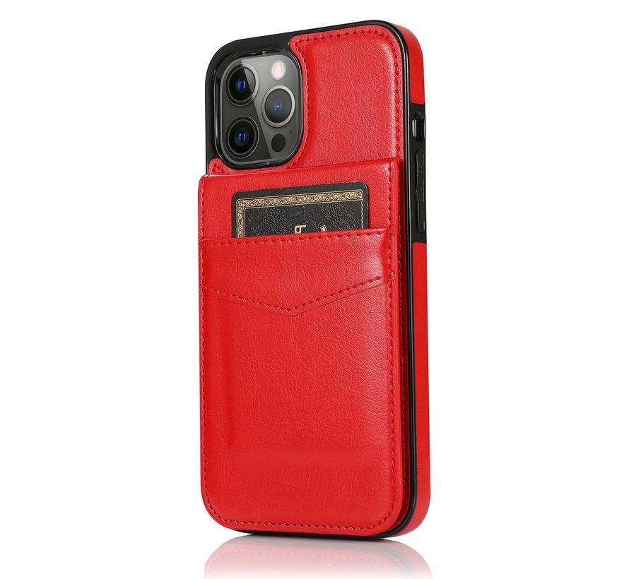 Apple iPhone 8 Back Cover Hoesje - Pasjeshouder - Leer - Portemonnee - Flipcover - Apple iPhone 8 - Rood