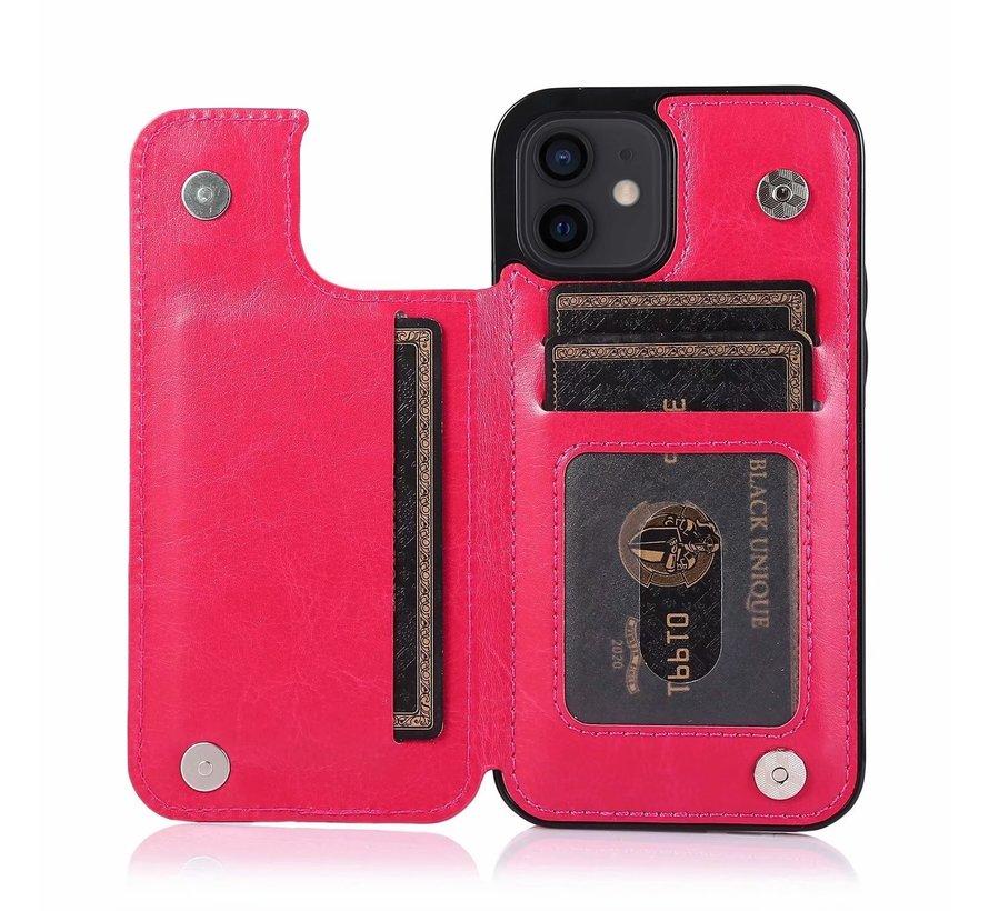 Apple iPhone XR Back Cover Hoesje - Pasjeshouder - Leer - Portemonnee - Magneetsluiting - Flipcover - Apple iPhone XR - Roze