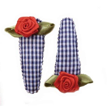 Hippe Knipjes haarknipje blauw ruitje rood roosje