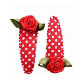 Hippe Knipjes haarknipje polkadot rood met rood roosje