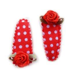 Hippe Knipjes haarknipje baby pokkadot rood met roosje