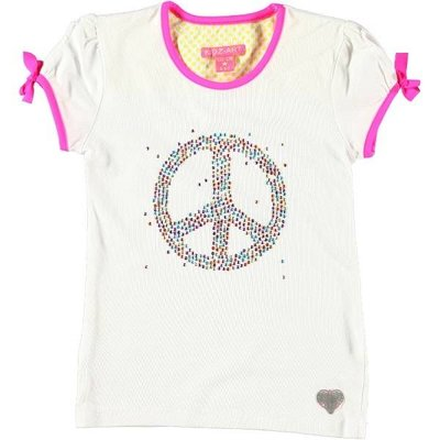 Kidz-Art shirt metallic studs peace white