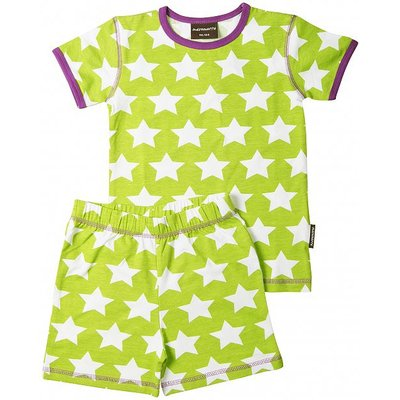 Maxomorra pyjama set Sterren Lime