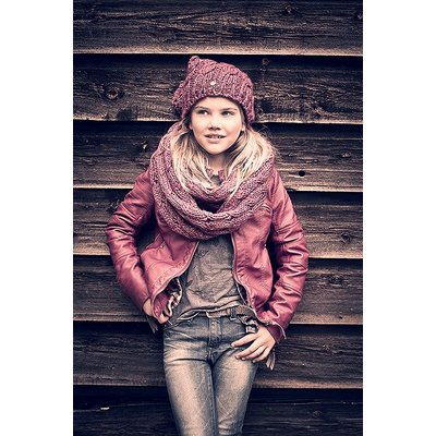 Petrol Industries girls wrap sjaal dark pink met glittertje