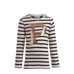 Little Pieces superstretch gestreepte longsleeve  met pailletten P