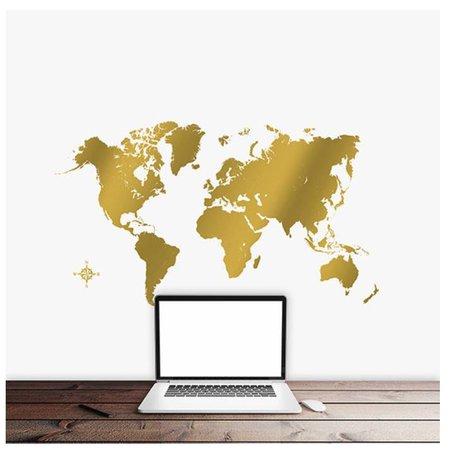 Crearreda Wereldkaart wandsticker goud