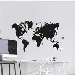 Crearreda Wereldkaart muursticker zwart